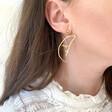 Lisa Angel Ladies' Sleeping Crescent Moon Face Drop Earrings in Gold on Model