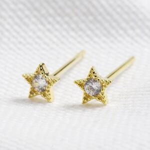 Sterling silver star earrings -Gold