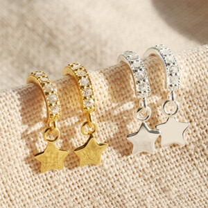 Sterling silver Sparkly Gem Star Hoops in Gold