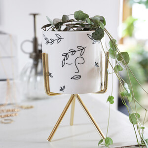 White Faces Planter with Stand