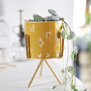 Yellow Bee Planter with Stand