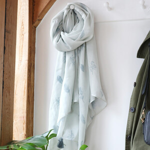 Grey Recycled Flower and Feather Scarf with Tassels