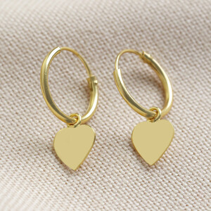 Sterling silver Heart hoop Earrings plated in Gold