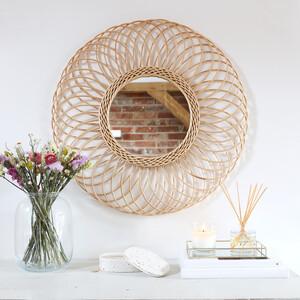 Large Round Rattan Mirror