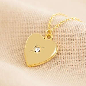 Gold April Heart Locket necklace