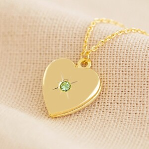 Gold August Heart Locket necklace