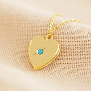 Gold December Heart Locket necklace