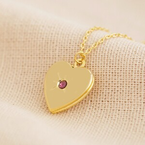 Gold February Heart Locket necklace