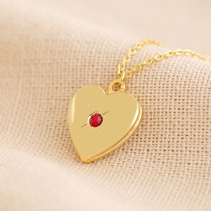 Gold January Heart Locket necklace