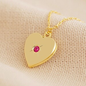 Gold July Heart Locket necklace