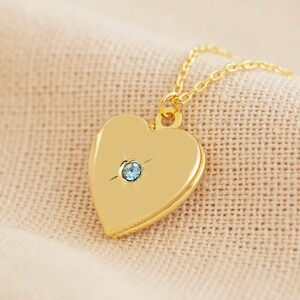 Gold March Heart Locket necklace