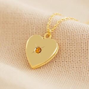 Gold November Heart Locket necklace