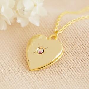 Gold October Heart Locket necklace