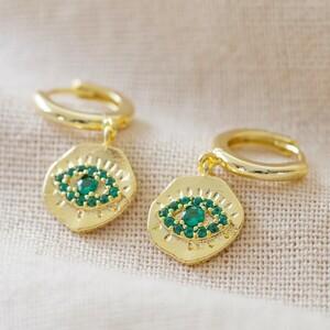 Gold Green gem eye huggies