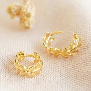 Fern leaf Huggie earrings in Gold