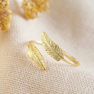 Gold Sterling Silver Double Feather Ring