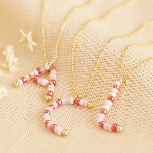 Beaded Small Initial in Gold F
