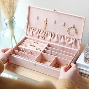 Pink PU large jewellery Box
