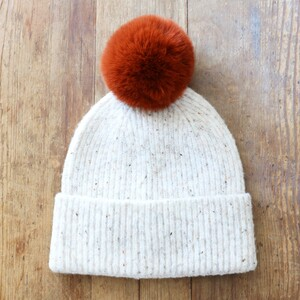 Natural Marled Winter Hat with Terracotta Pom Pom