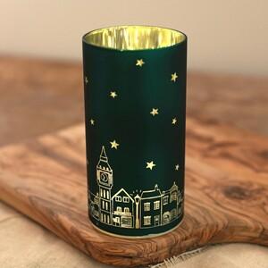Teal Houses Cylinder Light