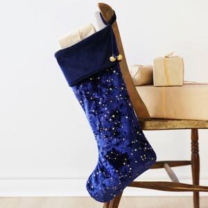 Starry Midnight Blue Velvet Stocking