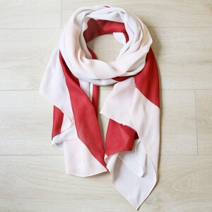Recycled Pink and Burgundy Colour Block Scarf