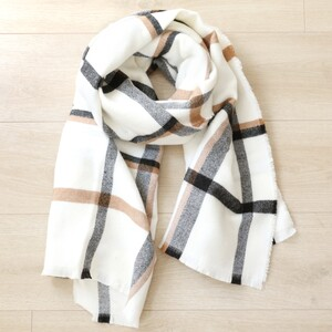 White and Beige Plaid Scarf