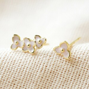 Ditsy flower enamel earrings in pink and gold
