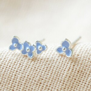 Forget me not flower earrings in Blue and Silver