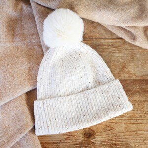 Natural Marled Winter Hat with Cream Pom Pom