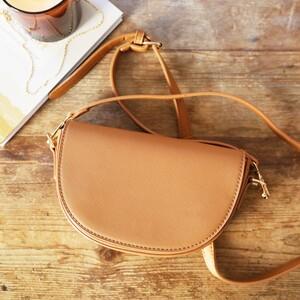 Tan Half Moon Handbag