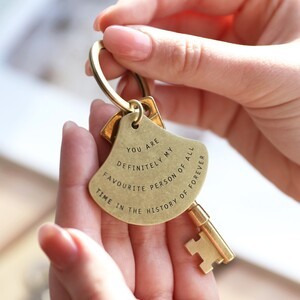 Favourite person antique brass keyring