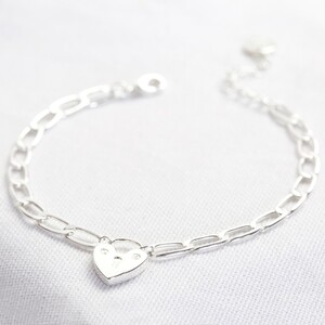 Silver Figaro chain bracelet with heart lock