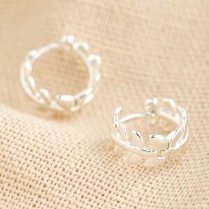 Fern leaf Huggie earrings in Silver