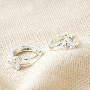 Crystal Clear Heart Huggies in Silver