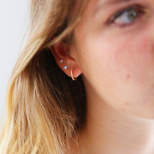 Sterling silver Crystal Tiny Hoops (Pair) plated in 14ct Gold
