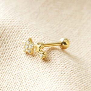 Sterling silver Crystal Tiny Triple star Earring (Packed individually) plated in 14ct Gold