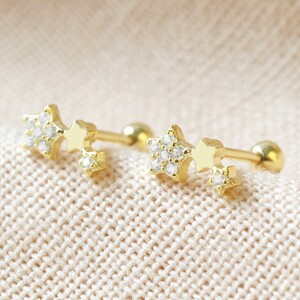 Sterling silver Crystal Tiny Triple star Earrings (Pair) plated in 14ct Gold