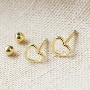 Sterling silver Heart Earrings with Ball Back (Pair) plated in 14ct Gold