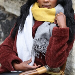 Heavy Knit Grey and Mustard Scarf