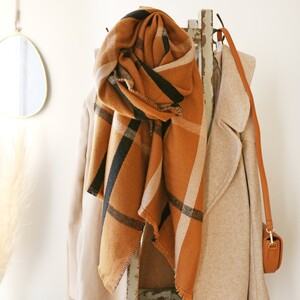 Terracotta Check Reversible Scarf