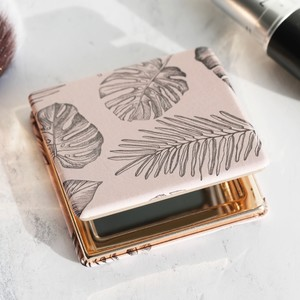 Leaf Print Compact Mirror
