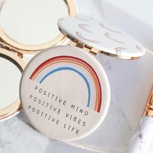 'Positive Vibes' Rainbow Compact Mirror