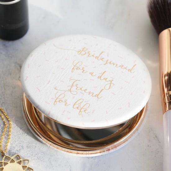 'Bridesmaid' Confetti Compact Mirror