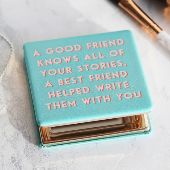 Turquoise 'Best Friend' Compact Mirror