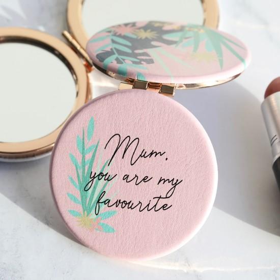 Pink Botanical 'Mum' Compact Mirror