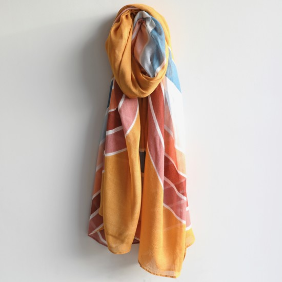 Lightweight Rainbow Stripe Scarf
