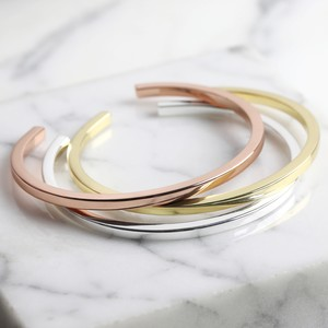 Shiny Brass Bar Bangle - Gold