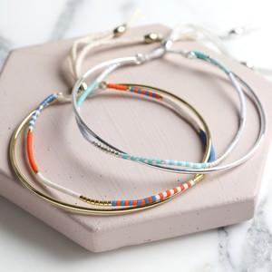 Cord and Seed Bead Friendship Bracelet - Gold