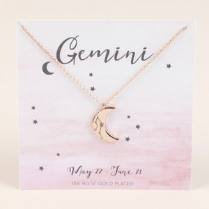 Rose Gold Constellation Moon Pendant Necklace - Gemini